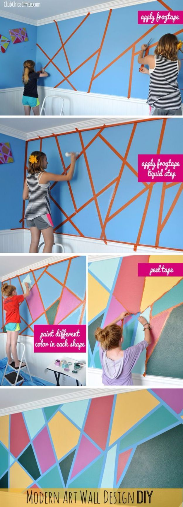 DIY Ideas for Painting Walls - Modern Art Wall Design DIY - Cool Ways To Paint…