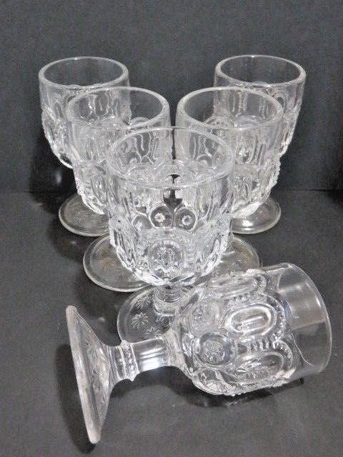 L E Smith Glass Moon & Stars Crystal Clear Stemware Set of 6 Cordial Goblets  #MidCenturyModern