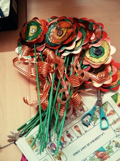 Roses Sant Jordi Flors paper diari i botons