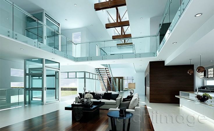 Architectural Render of a modern interior. House designed by Boyd Design Perth.
