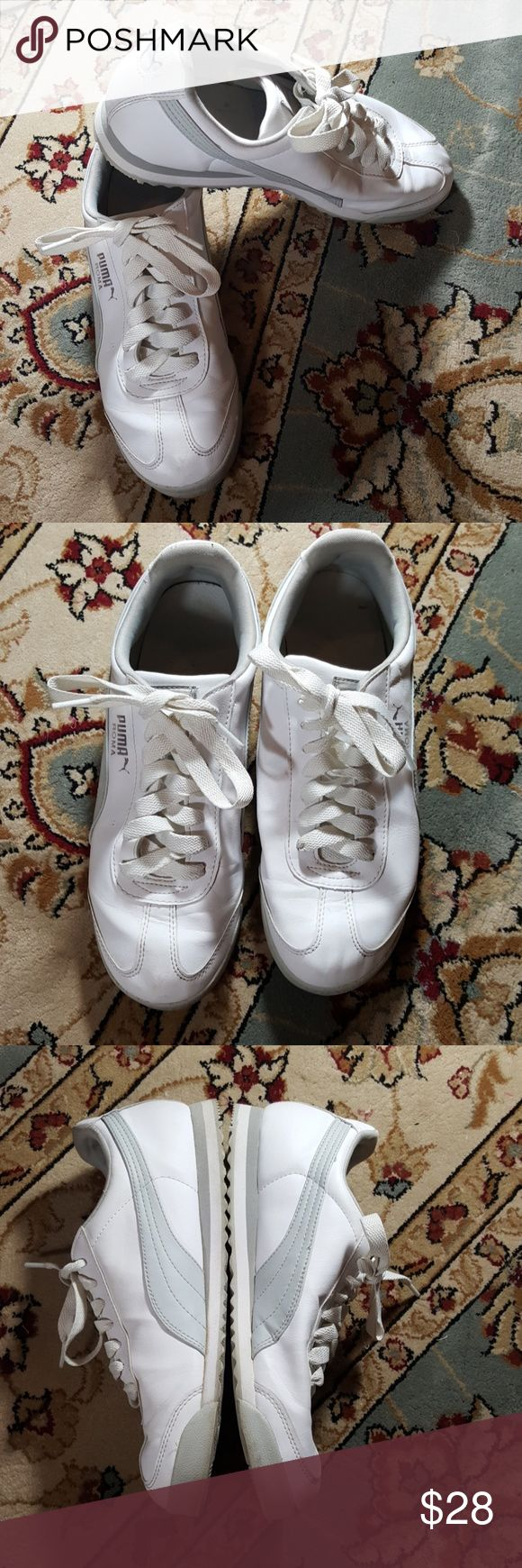8.5 mens puma sneakers Excellent condition white and grey men's Puma sneakers. Only side of where is creasing minimal and toes and some sock picking inside the shoe very clean Rubber Sole is completely intact shoe laces are in good condition great shoes Puma Shoes Sneakers