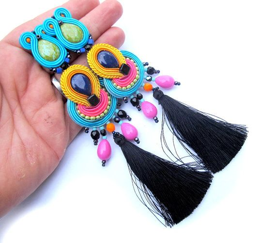 Colorful Tassel Earrings with Clip On Long by GiSoutacheJewelry