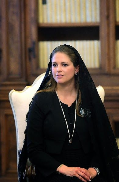 Princess Madeleine of Sweden attends a private audience with Pope Francis at the Apostolic Palace on 27.04.2015 in Vatican City, Vatican.
