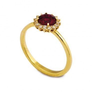 Κομψό διαχρονικό δαχτυλίδι ροζέτα από χρυσό Κ14 με κόκκινο ζιργκόν και πολλά μικρά λευκά ζιργκόν γύρω του | Δαχτυλίδια ΤΣΑΛΔΑΡΗΣ στο Χαλάνδρι #ροζετα #ζιργκον #χρυσο #δαχτυλίδι