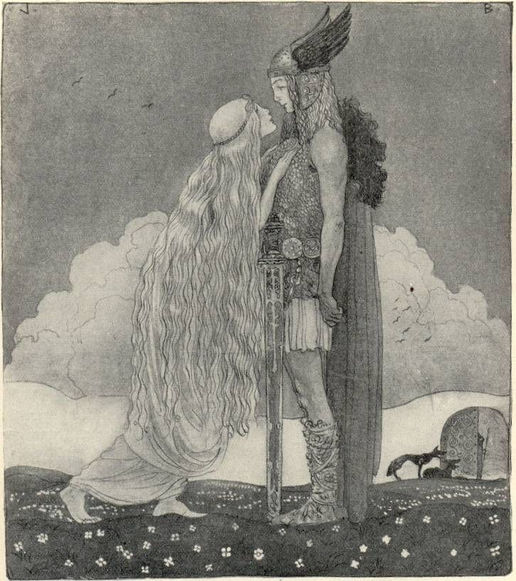 "Svipdagr is set a task by his stepmother to meet the goddess Menglöð, who is his ""fated bride."" In order to accomplish this seemingly impossible task he summons, by means of necromancy the shade of his dead mother, Gróa, a völva who also appears in the Prose Edda, to cast nine spells for him."