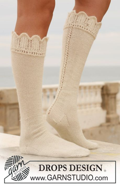 """Long DROPS socks in """"Alpaca"""" with lace border. ~ DROPS Design  **Free Knitting Pattern**"""