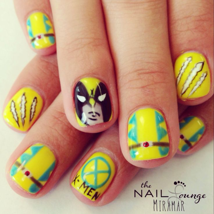 Wolverine x-men gel nail art