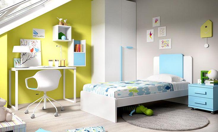 Cama tradicional para la habitaciones de tus hijos, un estilo simple, sin por ello renunciar al estilo moderno. Posibilidad de infinitos módulos anexos. Tráenos las medidas y en tienda diseñaremos la habitación de tus sueños. #mueblejuvenil