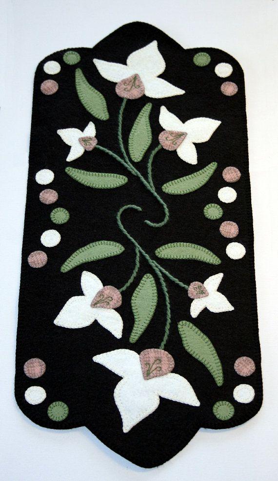 Penny Rug Wool Felt Finished Design  Lady by TwistedKnickersInc, $104.00