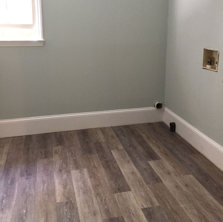 Allure Weathered Oak Vinyl Planks In Our Laundry Room. SW Sea Salt Paint.