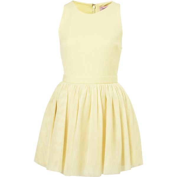 Petite Lemon Tulle Skirt Dress (260 NOK) ❤ liked on Polyvore featuring dresses, beige cocktail dress, petite dresses, tulle cocktail dress, lemon dress and beige dress