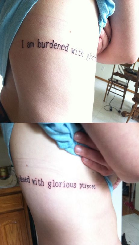 "Avengers rib tattoo, Loki quote ""I am burdened with glorious purpose."""
