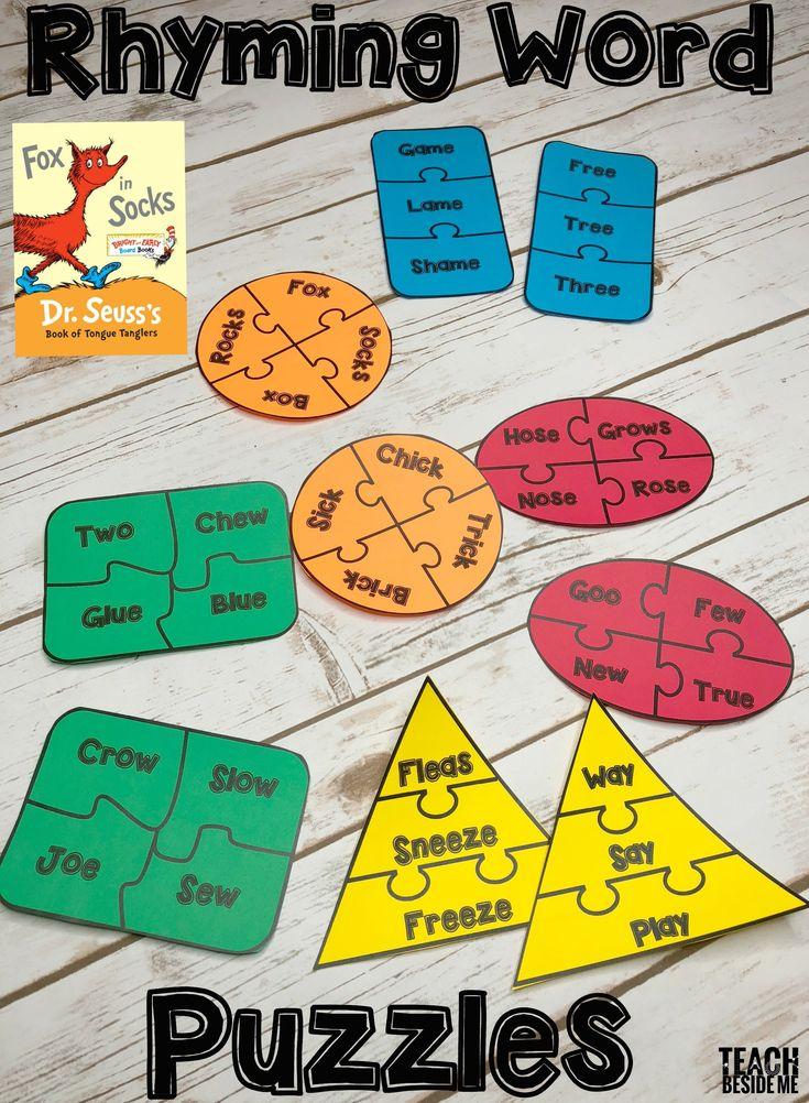 Fox In Socks Rhyming Word Puzzles - Teach Beside Me