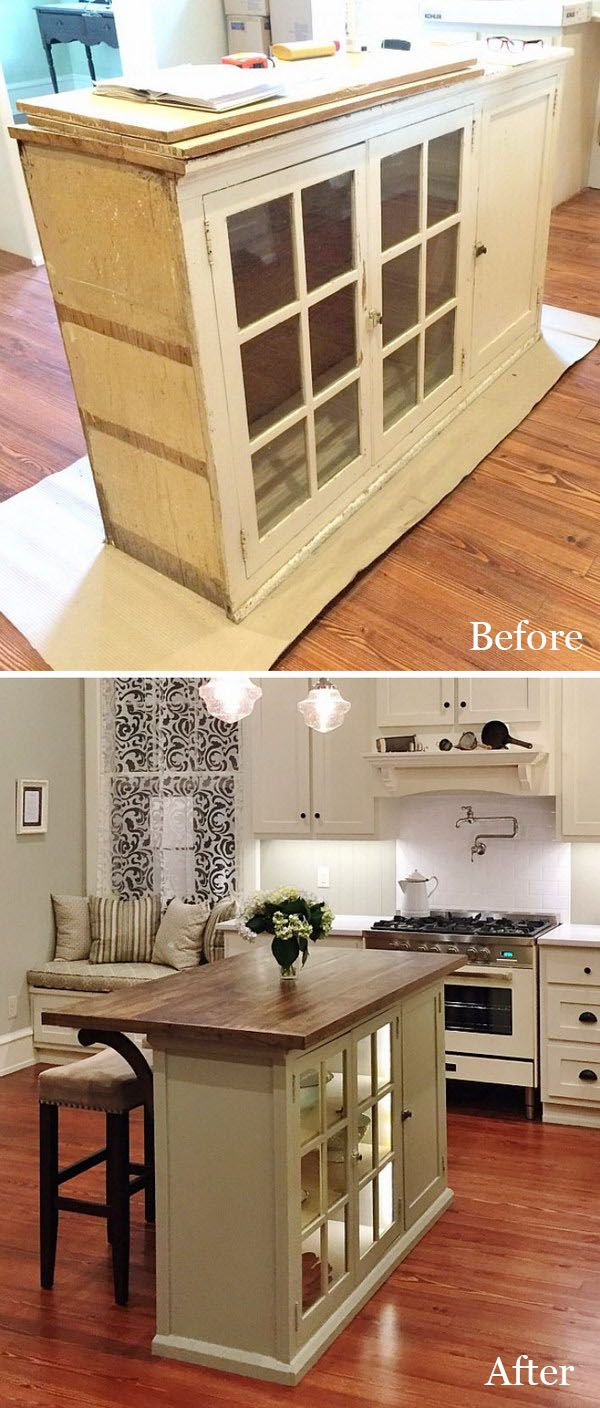 DIY a Kitchen Island by Repurposing a Piece of Furniture.