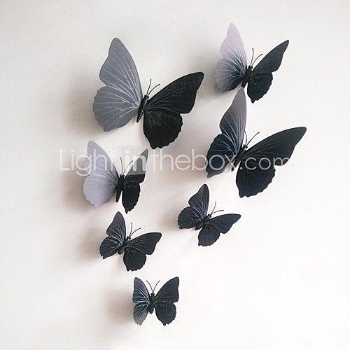 naklejki ścienne naklejki ścienne, 12pcs / lot 3D pcv naklejki magnetyczne czarny motyl domu diy naklejki ścienne naklejki. - USD $ 3.99