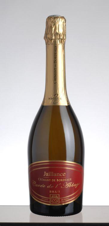 Crémant de Bordeaux BRUT. Jaillance Cuvée de l´Abbaye.  Bouteille de 0,75l, 12%vol.  Médaille d´Or (Concours National Des Crémants).