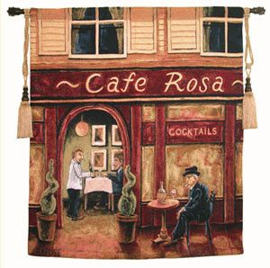 Cafe Rosa Tapestries, by Will Rufuse. Lively, warm and friendly reds help to enhance and bring home the charm in Cafe Rosa. Will Rufuse continues to show his artistic talents in his food