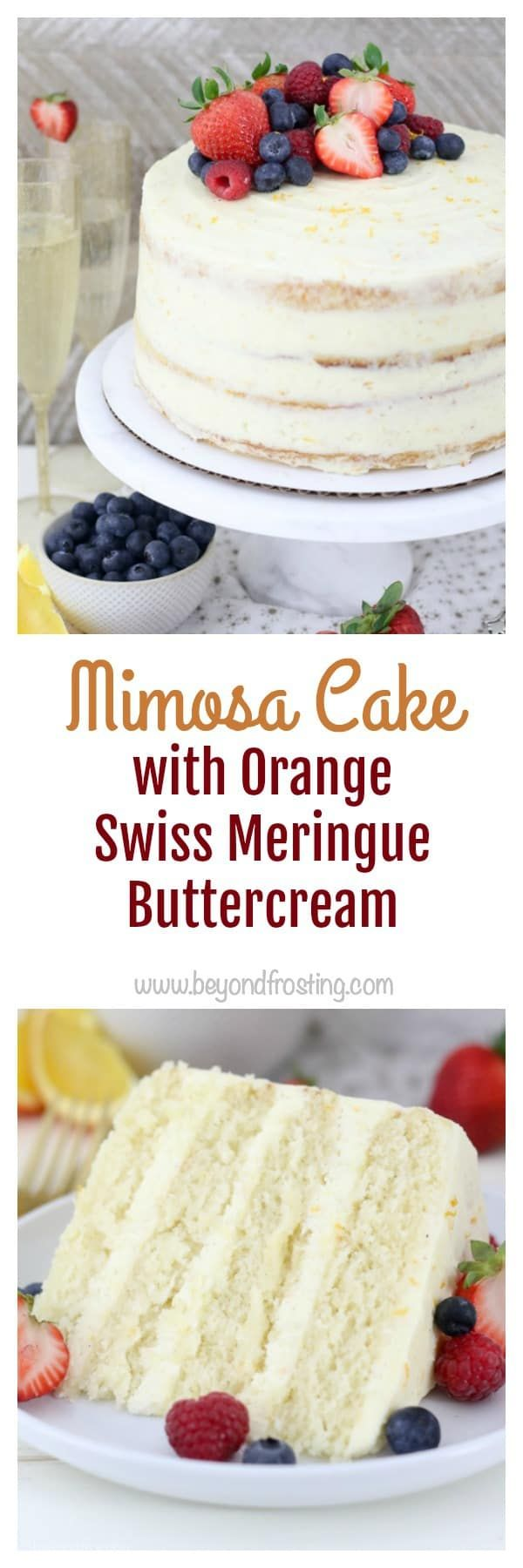 This Mimosa Cake Recipe is a moist champagne sponge cake with an orange Swiss meringue buttercream frosting.