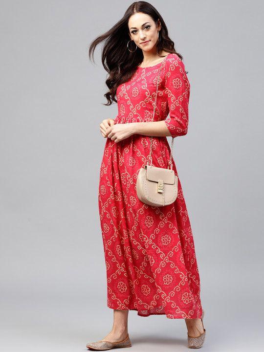 b0496e45170 Nayo Women Magenta   Off-White Printed Maxi Dress -