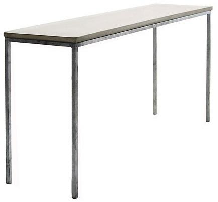 """Concrete konsollbord. Bearbeidet betong i fargen """"mystic"""". Dimensjoner: D40 x L150 x H75cm. Kr. 8900,-"""