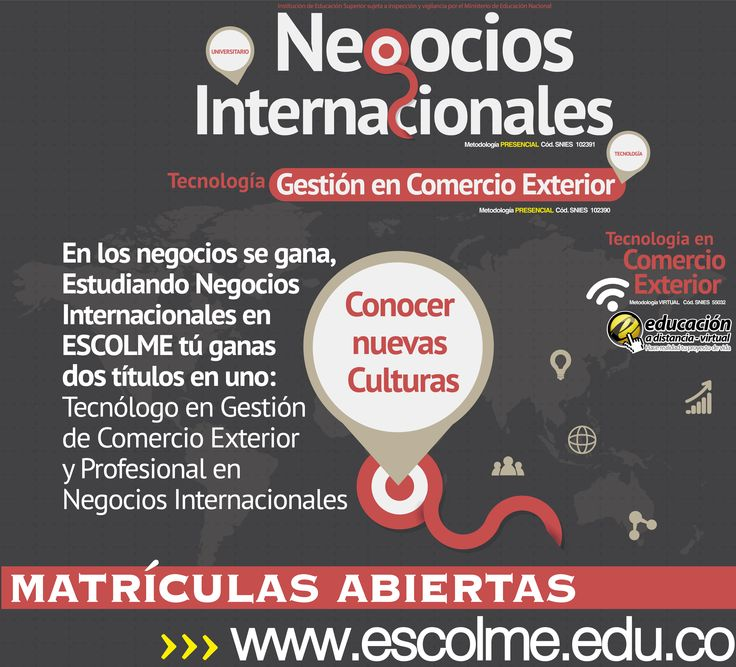 Estudiando Negocios internacionales conocerás nuevas culturas. Cliquéame para inscribirte http://bit.ly/1SrJ8MK o ingresa a www.escolme.edu.co Matrículas abiertas.