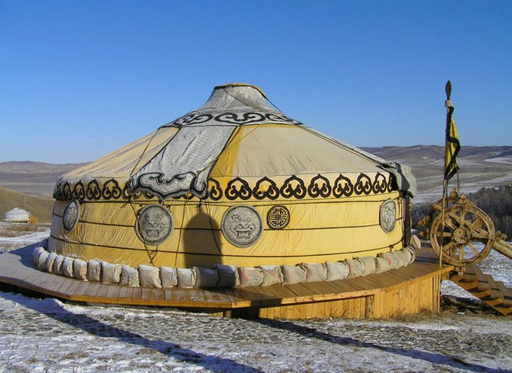 Mongolian Yurt - The yurt is the traditional dwelling of the nomads in Mongolia, as well as in the neighbouring countries, as far as Turkey.  It is a tent-like structure made from a wooden frame and covered by wool felt.  A traditional yurt is very easy to collapse and assemble again, and it can be transported on no more than three animals (horses, camels, yaks).  The constructive principle has changed little since Genghis Khan's times.