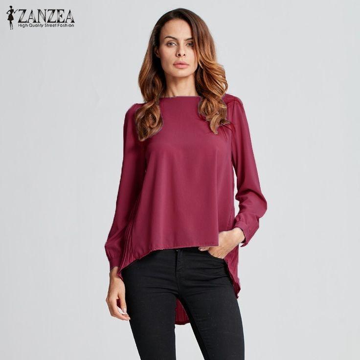 ZANZEA 2016 Autumn Women Oversized Sexy Casual Loose Chiffon Tops Long Sleeve Solid Shirts Ladies Blouses Plus Size Blusas