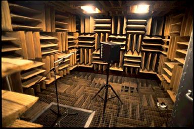 """World's Quietest Room"" at Orfield Labs' Anechoic Chamber in Minneapolis, MN. 10-min Facility Tours on Fridays for a suggested $20 food shelf donation. Call 612-721-2455."