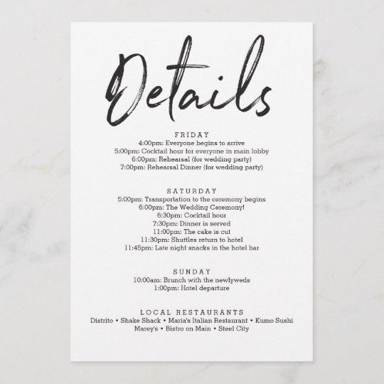 Wedding Itinerary Hotel Welcome Letter   Zazzle com in 2019   Matt