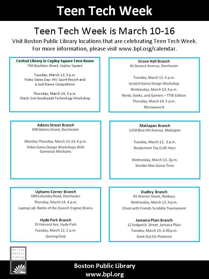 Ruth Holley Branch Library Teen Programming - Home