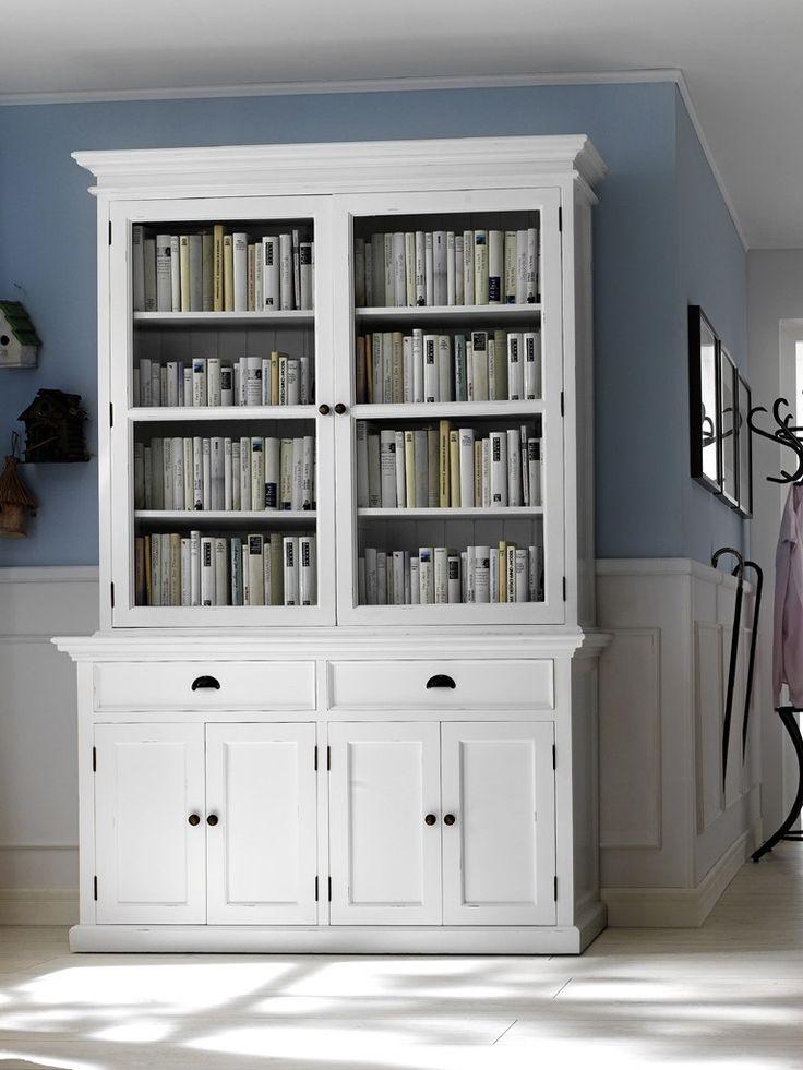 Meuble bibliothèque bois vitrée coloris blanc - Halifax