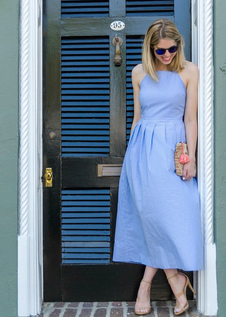 Spring ASOS blue and white dress