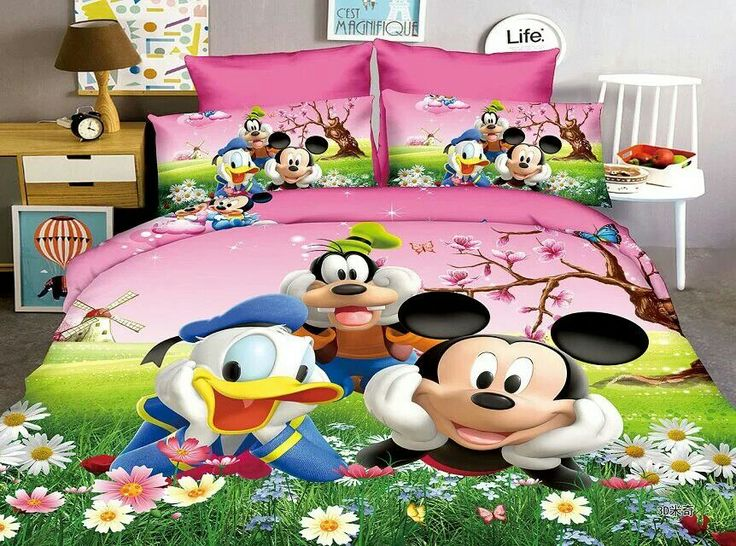 Mickey Mouse Donald Duck bedding set Children's Baby bedroom decor single twin size bed sheets quilt duvet covers 3pc Green Pink #Affiliate