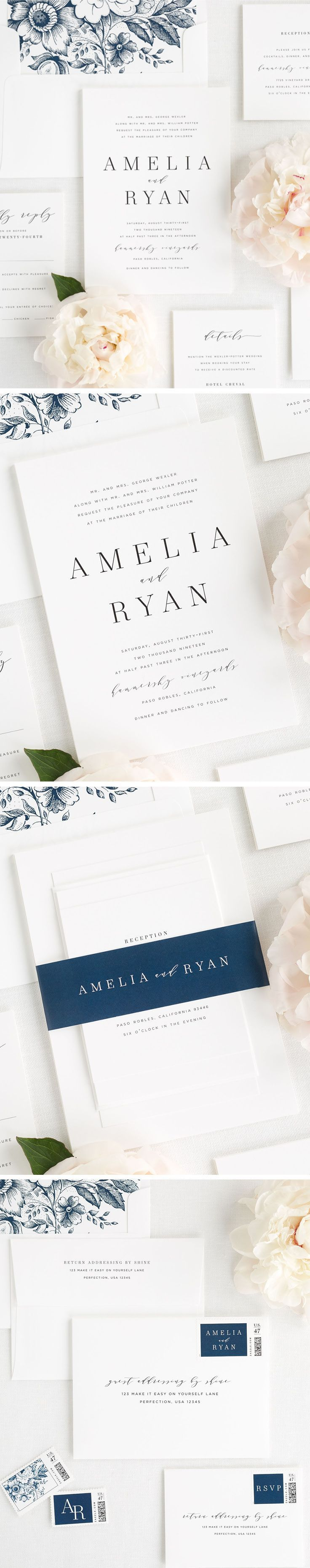 A romantic serif font mixed with modern calligraphy? Yes please! Our new Amelia wedding invitation suite makes a big statement while still remaining simple and classic. If you are looking for a gorgeous way to tie it all together, check out our new 100% custom dyed silk ribbon to perfectly tie your suite together!