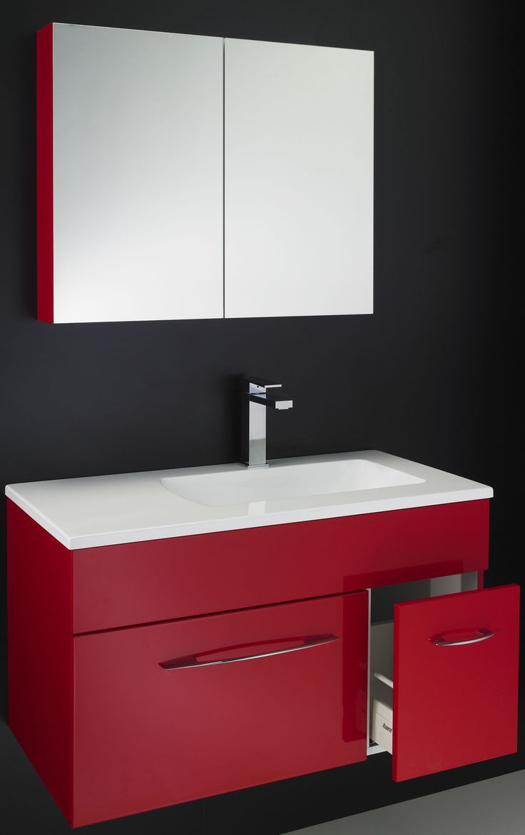 Rifco Arq vanity wall hung in red gloss & matching shave cabinet www.rifco.com.au