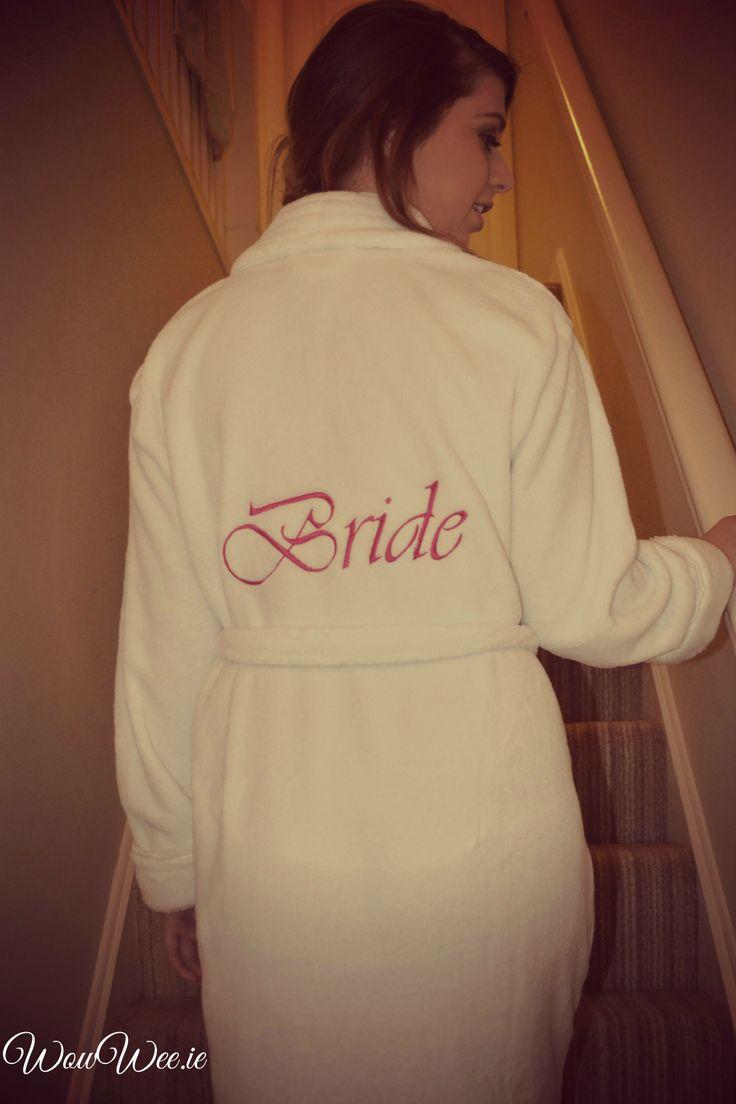 Personalised Bridal Robes €24.99 http://www.wowwee.ie/Personalised-Wedding-Gifts-s/51.htm  personalised bridal robes | personalised bridal dressing gowns | personalised bridal robes online | personalised bridal robes ireland | bride | weddings |