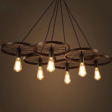 Lighting Personality Industrial Loft Style Wrought Iron Chandelier Restaurant Bar Cafe Restaurant Wheel Chandelier 4234932 2017 – $285.70