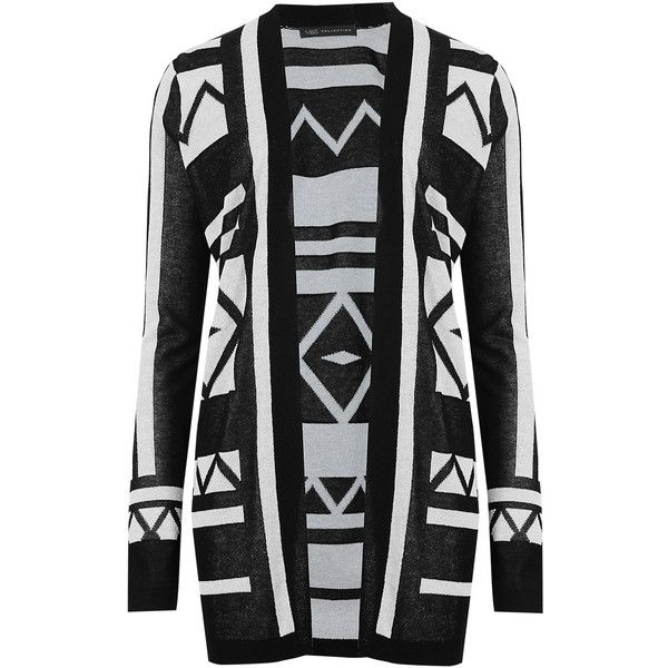 M&S Collection Matt & Shine Geometric Print Longline Cardigan ($43) ❤ liked on Polyvore featuring tops, cardigans, black, long sleeve cardigan, rayon cardigan, open front cardigan, long sleeve tops and long sleeve open front cardigan