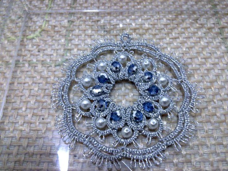 ciondolo argento con perline e cristalli