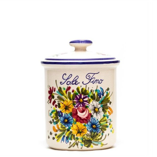 Ceramic can or tin for salt, kitchen use. Fioraccio Abruzzo wild flowers decoration, Italian handmade pottery.