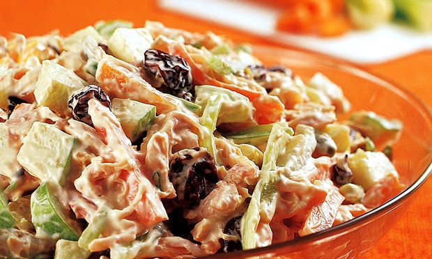 Brazilian chicken salad (Salpicão).  Shredded chicken + carrots + apples + raisins + corn + mayo + cream.  Unreal