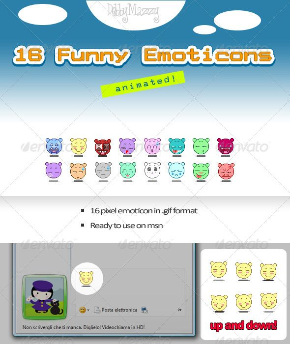 Set Pixel Emoticon  #GraphicRiver         A funny collection of emoticon.     Created: 1June12 GraphicsFilesIncluded: PhotoshopPSD #JPGImage HighResolution: Yes Layered: Yes MinimumAdobeCSVersion: CS PixelDimensions: 34x40 Tags: AnimatedEmoticons #animatedgif #emoticon #emoticons #gif