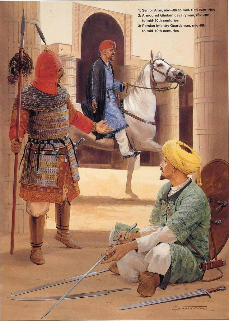 'Abbasid Caliphal Armies:   1: Senior Amir, mid-9th to mid-10th centuries;  2: Armoured Ghulam cavalryman, mid-9th to mid-10th centuries;  3: Persian Infantry Guardsman, mid-9th to mid-10th centuries