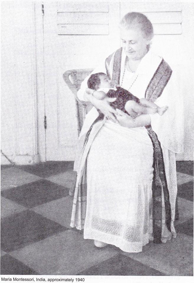 María Montessori en india 1940