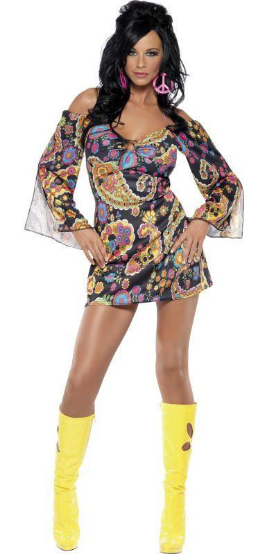 Sexy hippie outfit voor dames : Vegaoo Volwassenen Kostuums