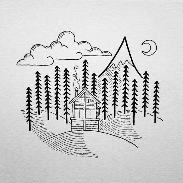 Illustration for @gpowersfilm! #drawing #art #penandink #illustration #doodle #doodling #cabin #mountains #camping #campvibes #pnw #upperleftusa #portland #oregon