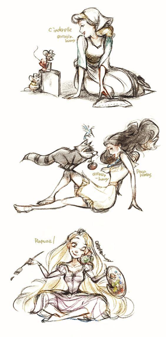 Cinderella, Pocahontas and Rapunzel.