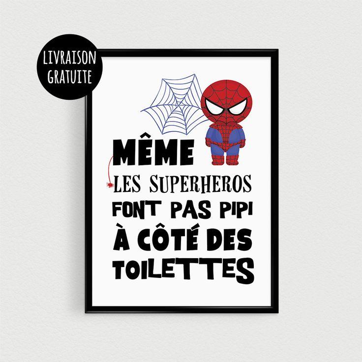"""Poster super héros pour enfant """"Même les superhéros font pas pipi à côté des toilettes"""" - Affiche"""