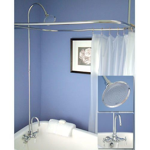 "Gooseneck Clawfoot Tub Shower Conversion Kit - 60"" x 28"" Shower Ring - Polished Nickel"