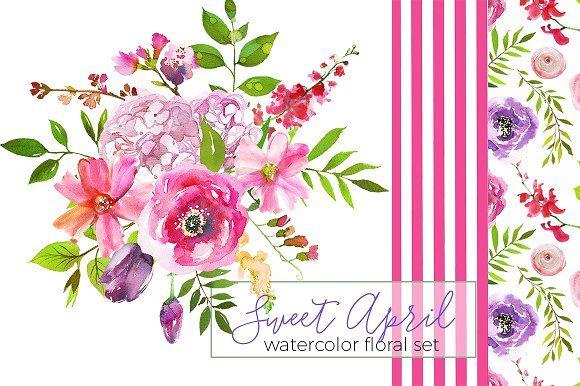 Sweet April Watercolor Flowers - Illustrations